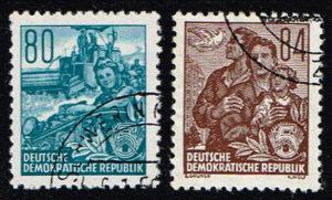 Duitsland (DDR) 1953 Freimarke Fünfjahresplan gestempelt Michel nr 378-379