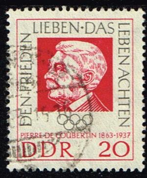 Duitsland (DDR) 1963 Geburtstag Pierre de Coubertin gestempelt Michel nr 939