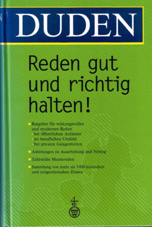 Duden Reden gut und richtig halten ISBN 3411046821