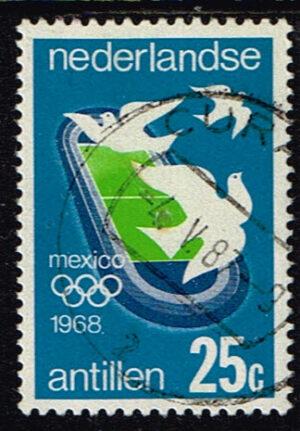 Ned. Antillen 1968 Olympische Spelen gestempeld NVPH 395