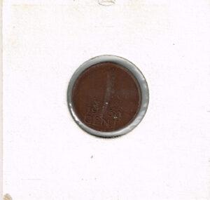 Koninkrijksmunten Nederland 1950 koningin Juliana 1 cent