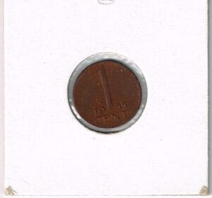 Koninkrijksmunten Nederland 1955 koningin Juliana 1 cent