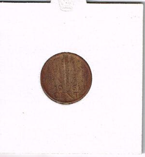 Koninkrijksmunten Nederland 1961 koningin Juliana 1 cent