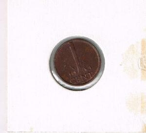 Koninkrijksmunten Nederland 1965 koningin Juliana 1 cent