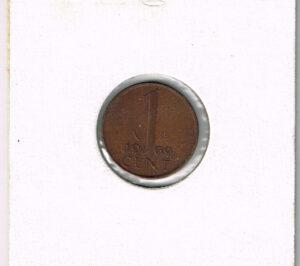 Koninkrijksmunten Nederland 1969 koningin Juliana 1 cent vis
