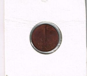 Koninkrijksmunten Nederland 1977 koningin Juliana 1 cent