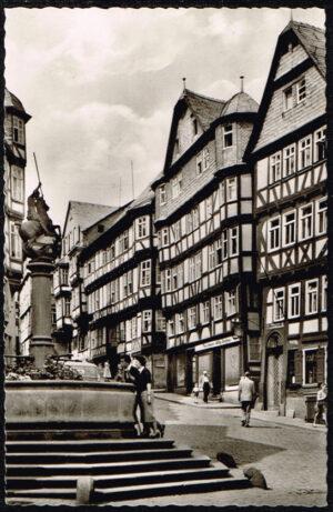 Ansichtkaart Duitsland Marburg an der Lahn Am Marktbrunnen K53