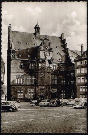 Ansichtkaart Duitsland Marburg an der Lahn Rathaus rond 1960 K55