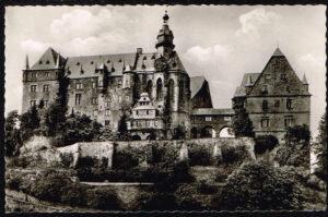 Ansichtkaart Duitsland Marburg an der Lahn Schloss von Suden rond 1960
